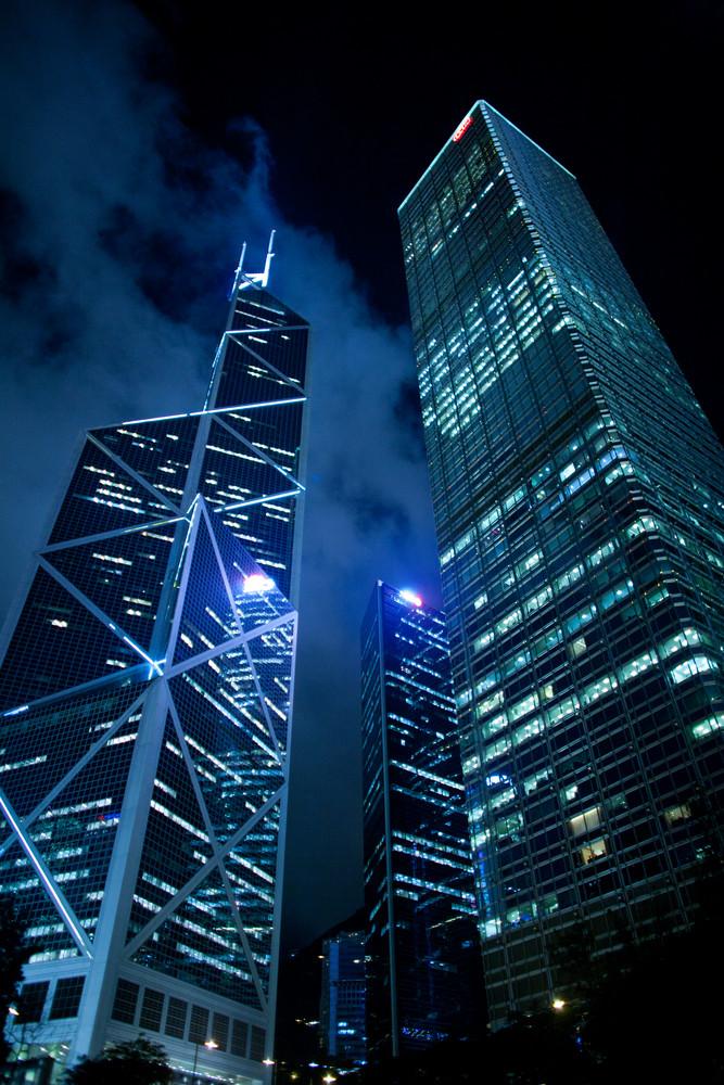 Hong Kong at night, view from below.