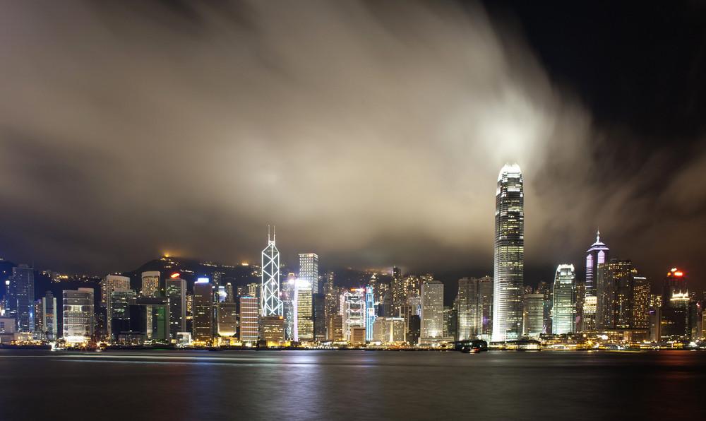 Hong Kong city night with cloud in panorama