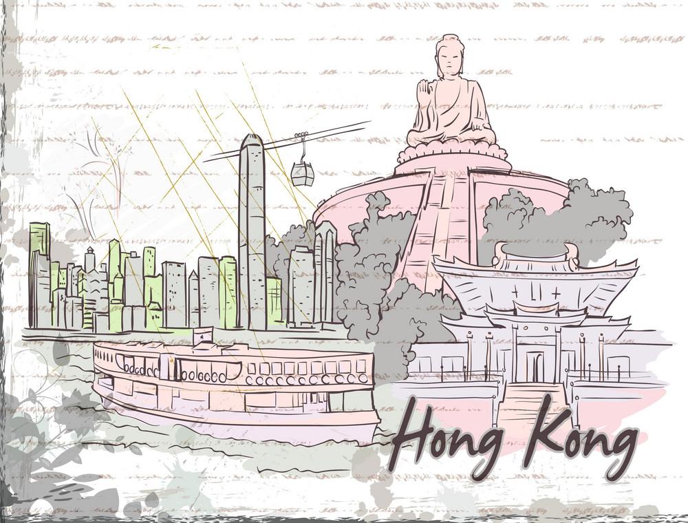 Hong Kong Doodles With Grunge Background Vector Illustration