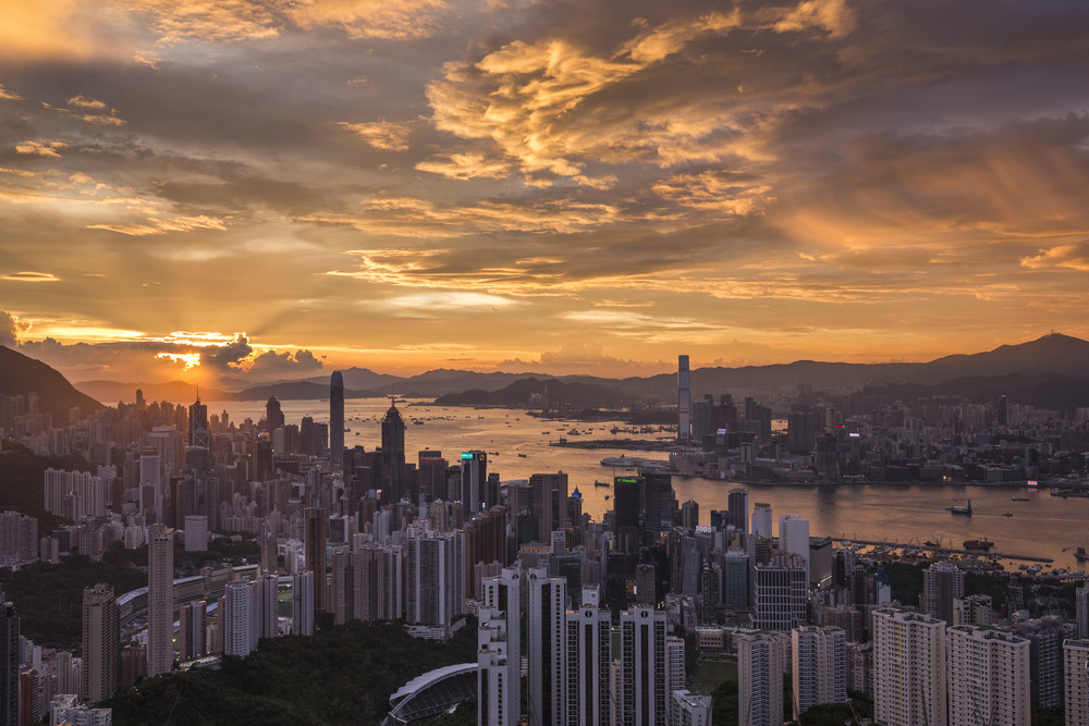 Hong Kong view with sunset sky on Jardine's lookout mountain.
