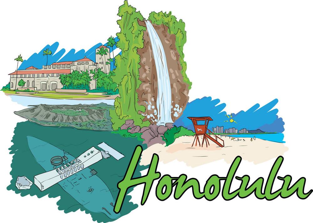Honolulu Vector Doodle
