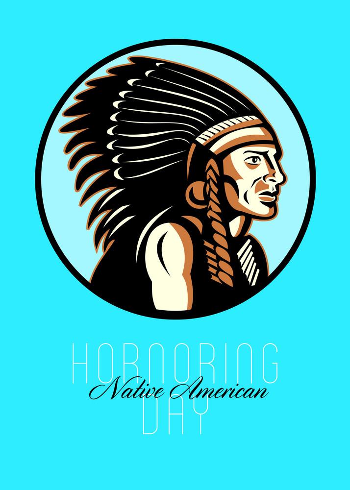 Honoring Native American Day Retro Greeting Card