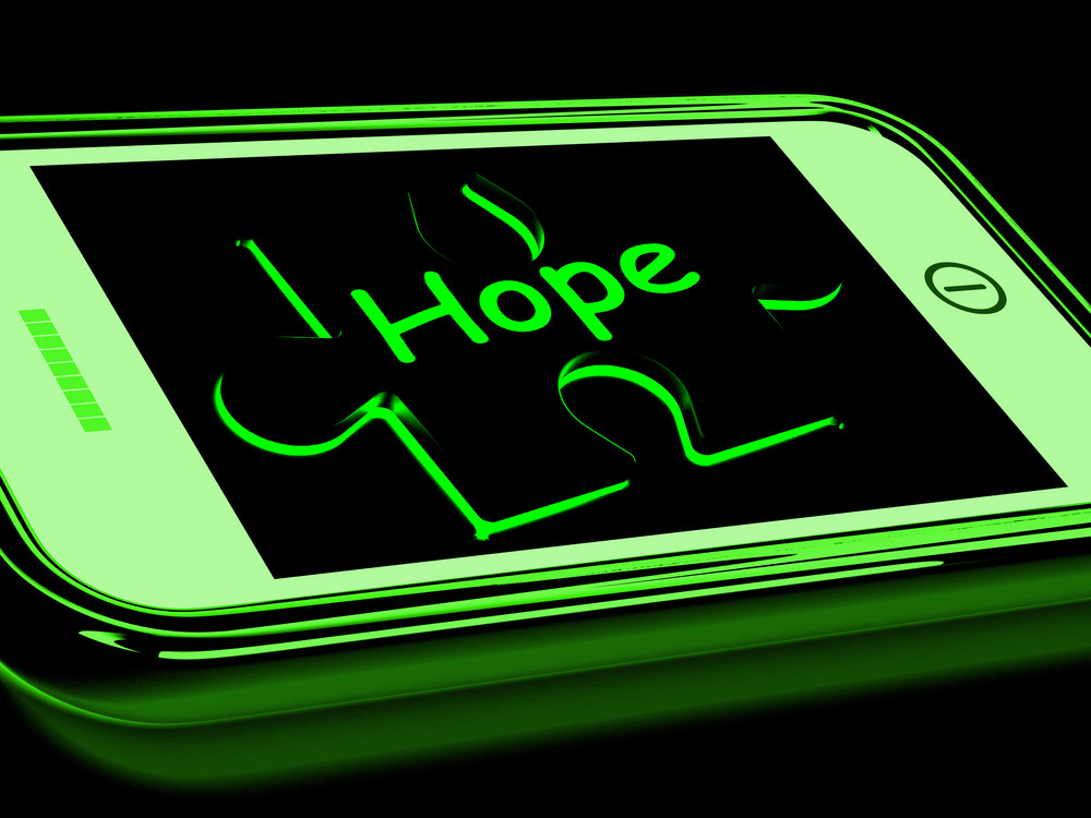 Hope On Smartphone Showing Prays