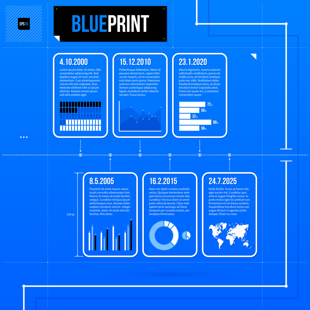 Horizontal Timeline Template With Infographic Elements In Blueprint Style. Eps10