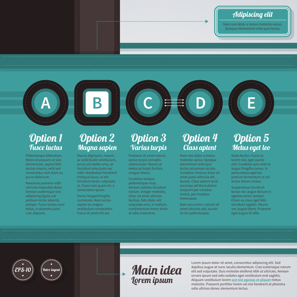 Horizontal Web Layout In Retro Style With 5 Options. Eps10.