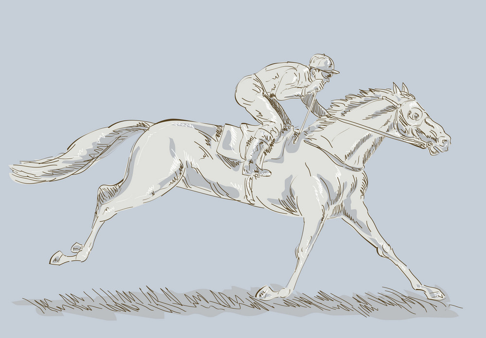 Horse And Jockey In A Race Winning