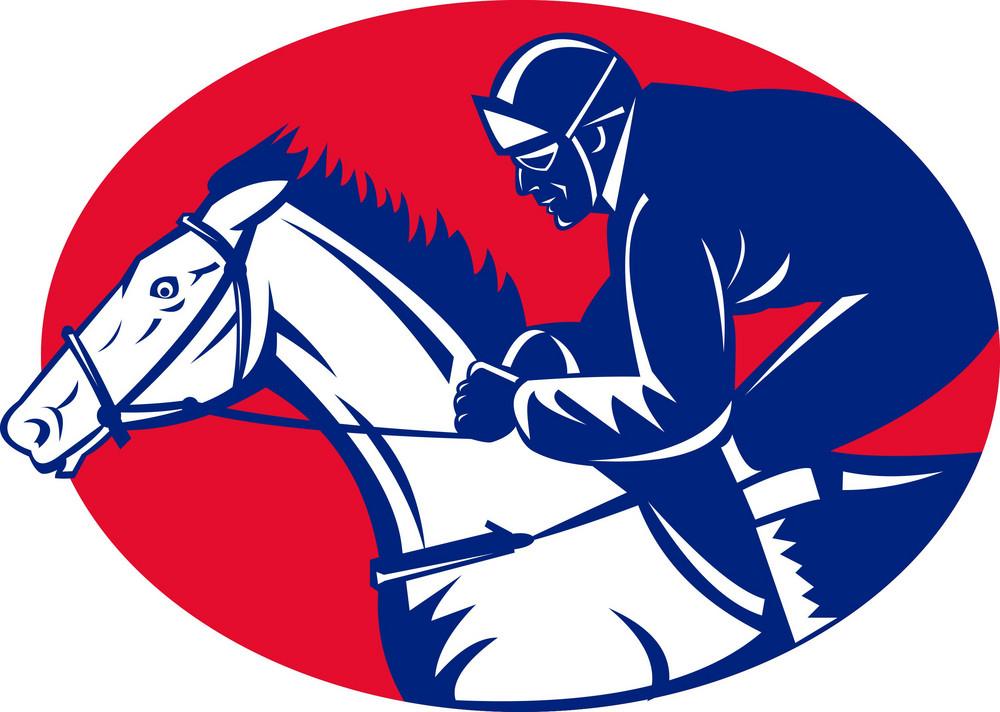 Horse And Jockey Racing Side View