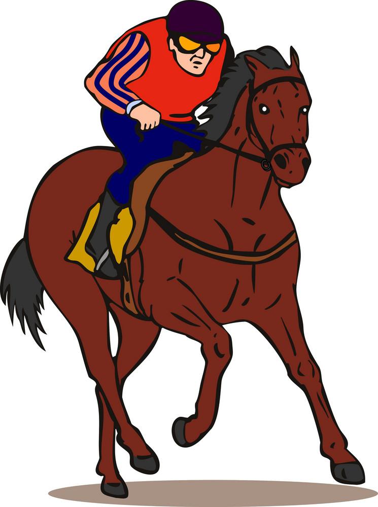 Horse And Jockey Retro