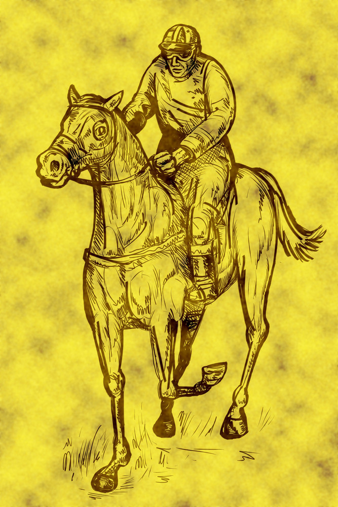 Horse And Jockey Winning Race