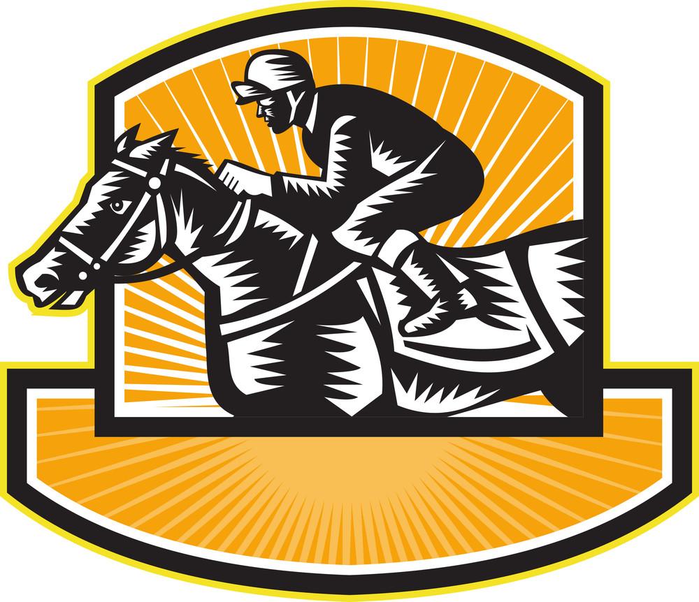 Horse Racing Side Woodcut Retro