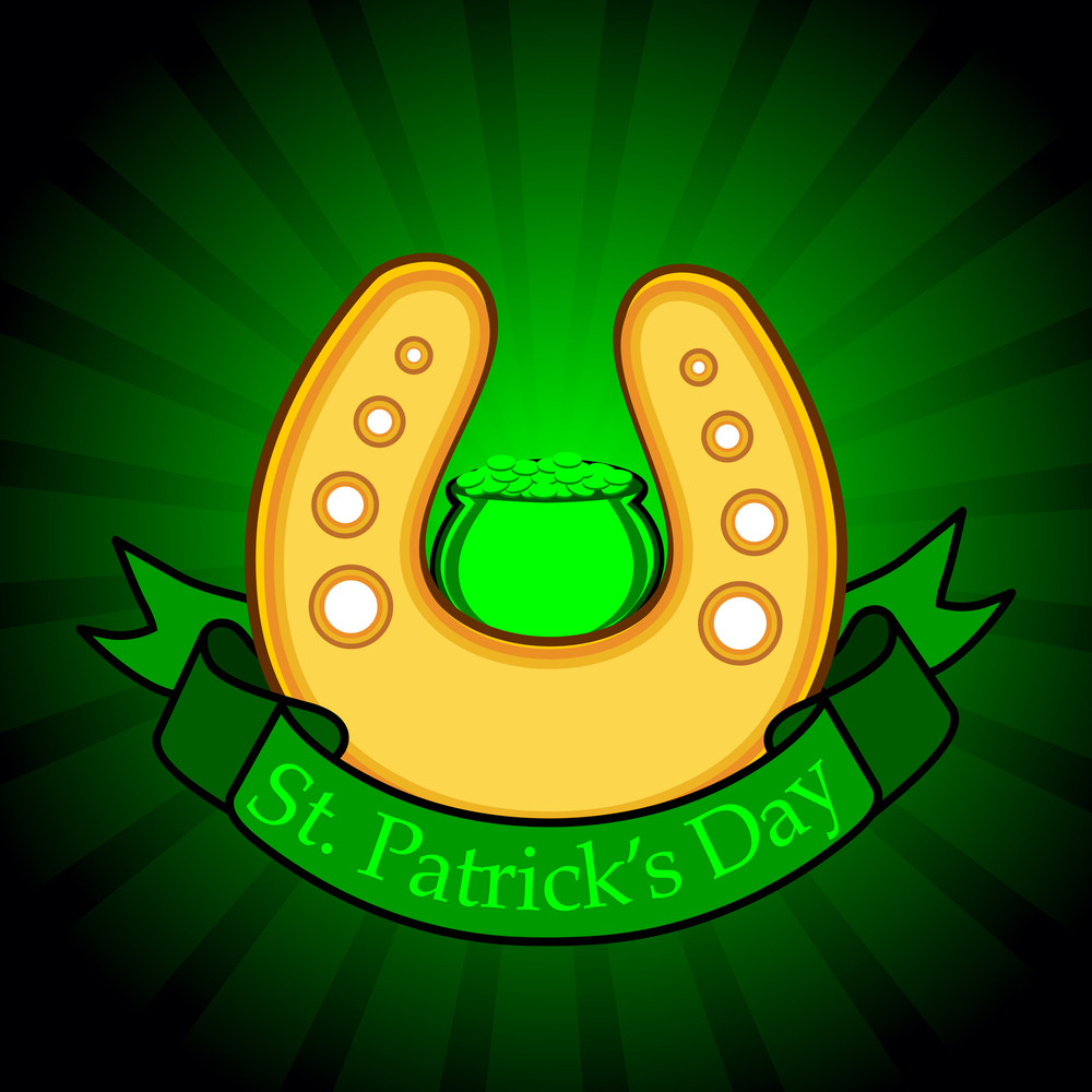 Horse-shoe Having On Ribbon With Cauldron For Patrick's Day. Vector.