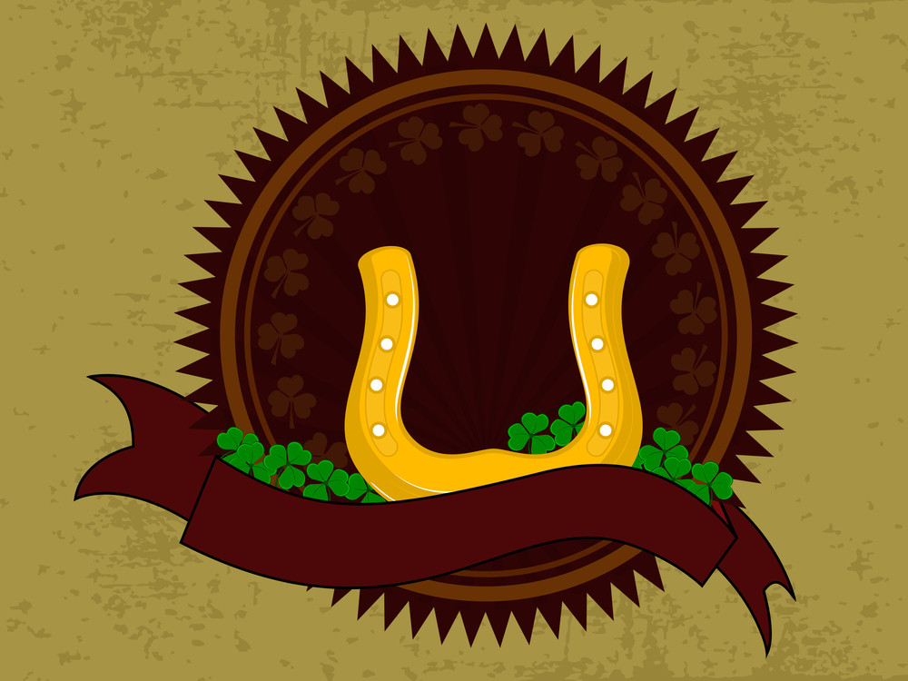 Horse-shoe Having On Ribbon With Shamrocks Leaf  For Patrick's Day. Vector.