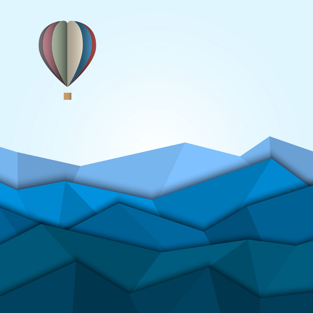 Hot Air Balloon And Mountains From Paper
