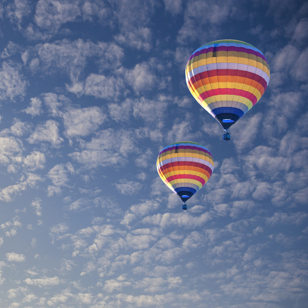 Hot air balloon on cloud