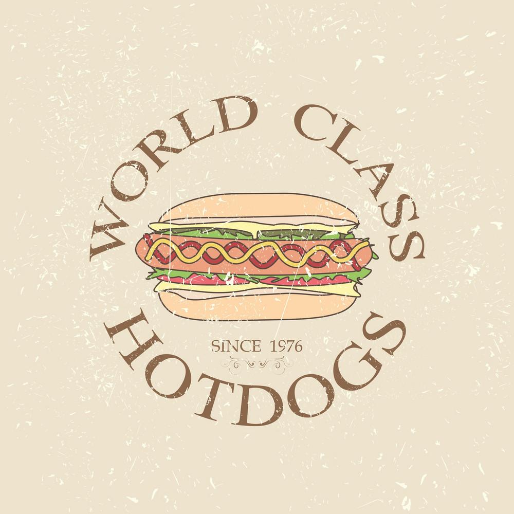 Hotdog Vintage Label
