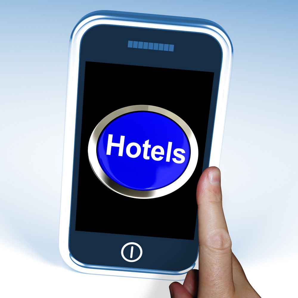 Hotel Button On Phone Shows Travel And Room