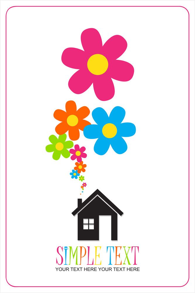 House And Flowers Instead Of Smoke Rising From The Chimney Abstract Vector Illustration.