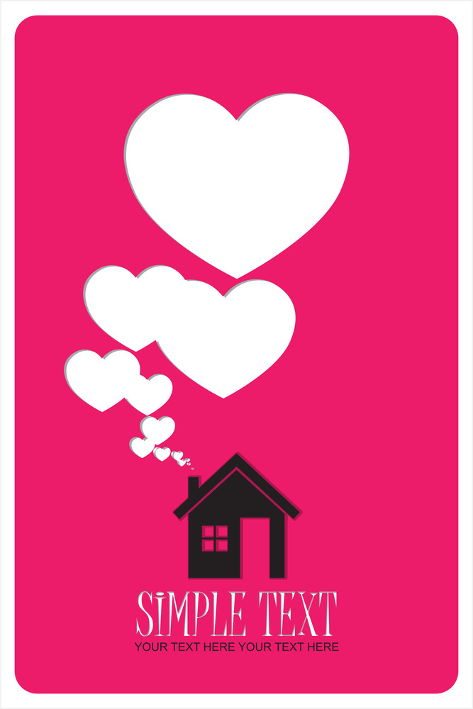 House And Hearts Instead Of Smoke Rising From The Chimney Abstract Vector Illustration.