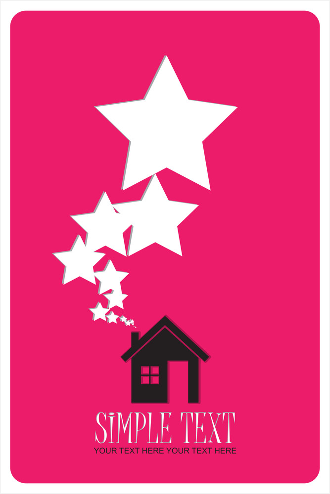 House And Stars Instead Of Smoke Rising From The Chimney. Abstract Vector Illustration.