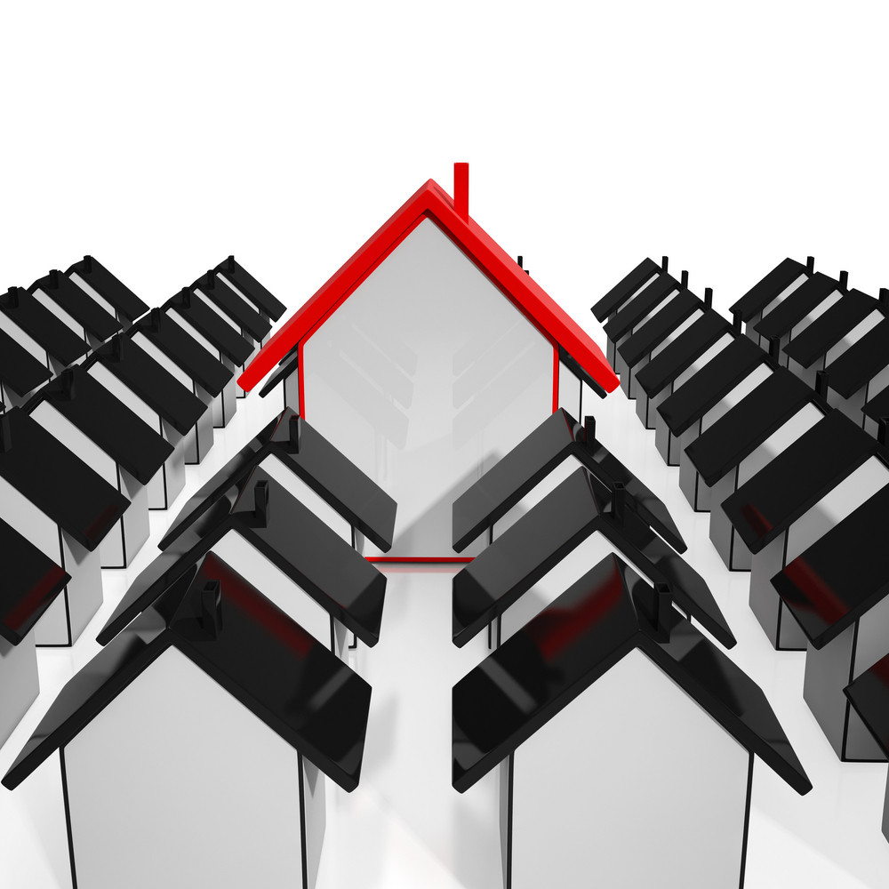 House Icons Showing Selling Real Estate