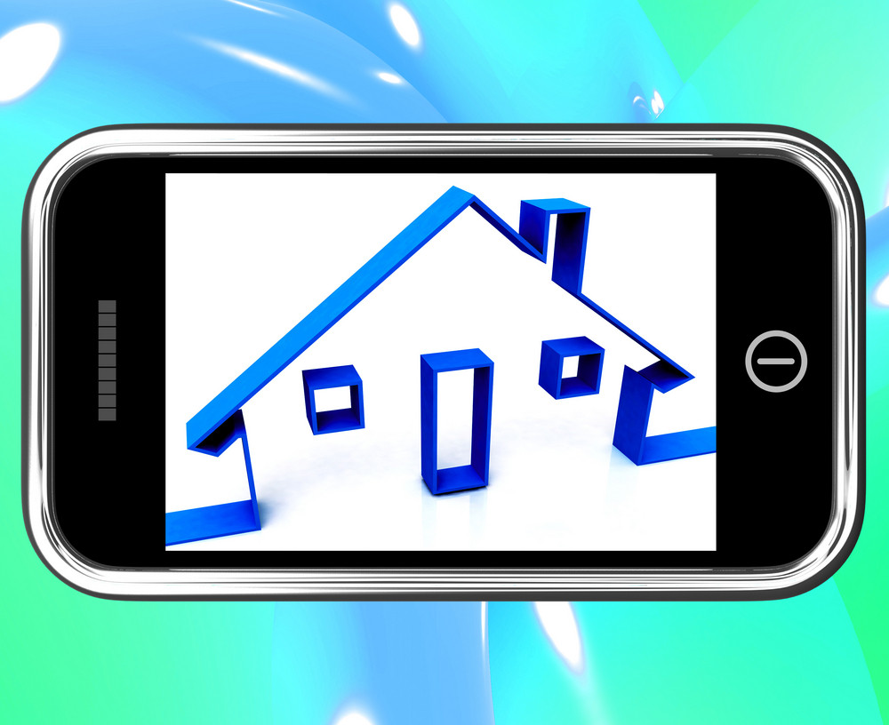 House On Smartphone Shows Real Estate