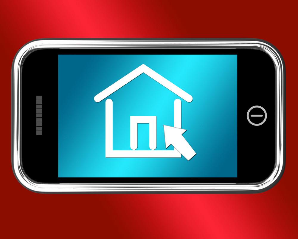 House Symbol On Mobile Shows Real Estate Or Rentals
