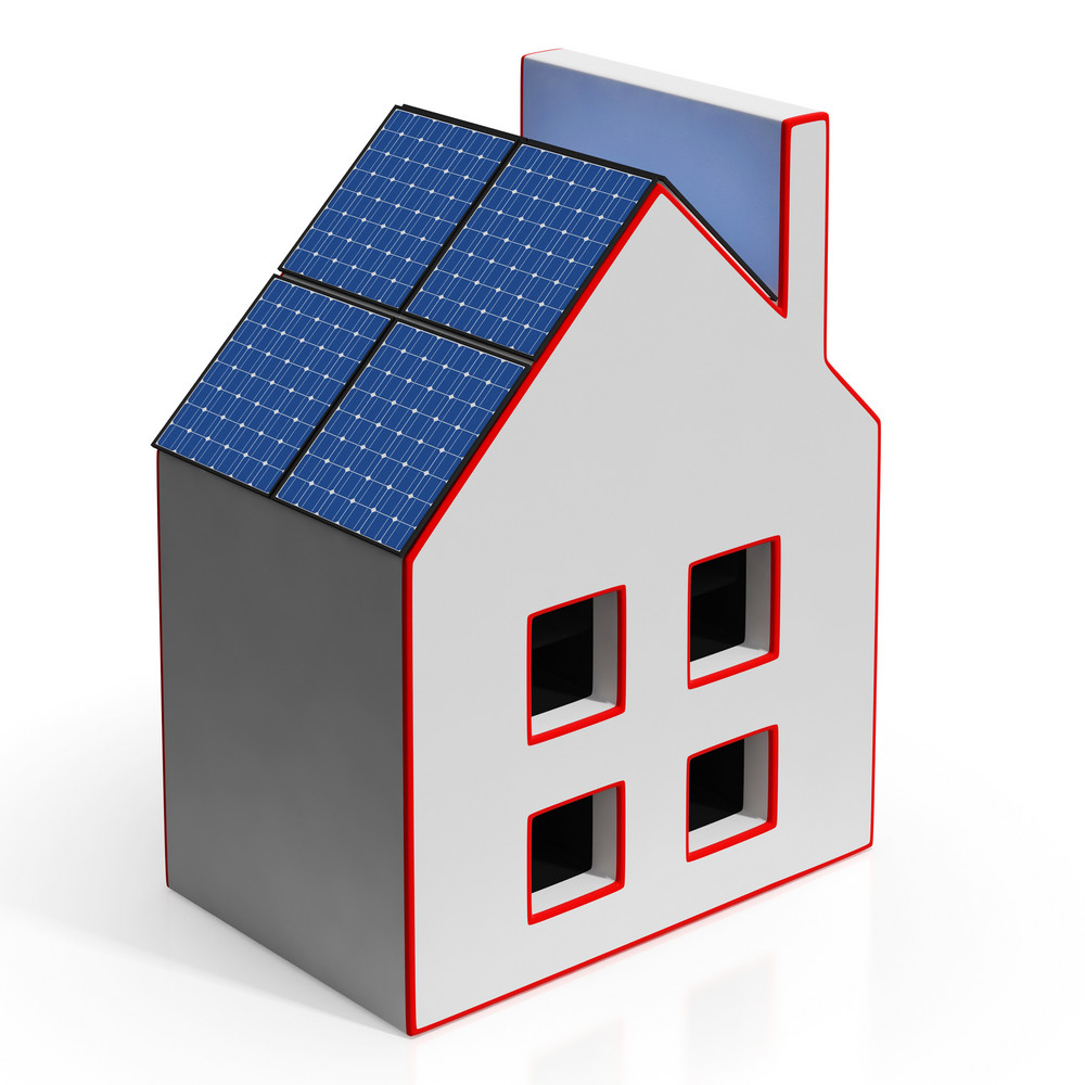 House With Solar Panels Shows Renewable Energy