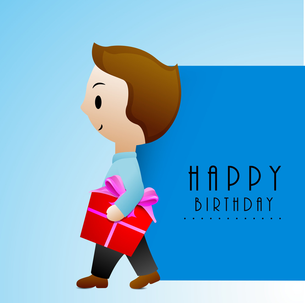 Hsppy Birthday Greeting Card Or Invitation Card With Cute Little Boy Holding Red Gift Box