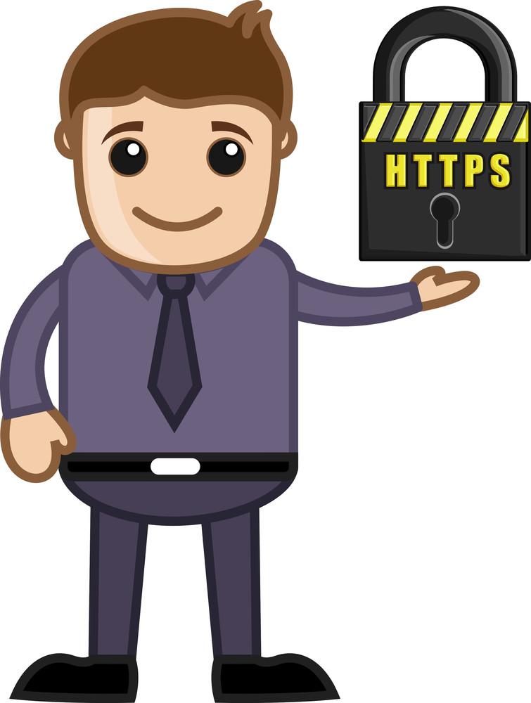 Https Secure Site - Cartoon Vector