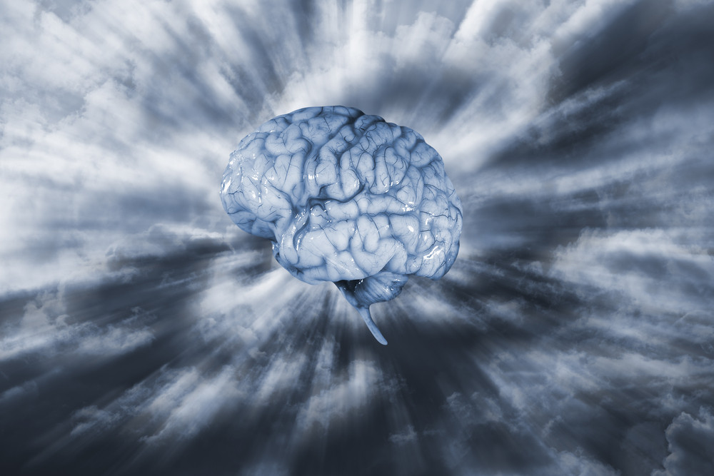 human brain in clouds, artificial intelligence