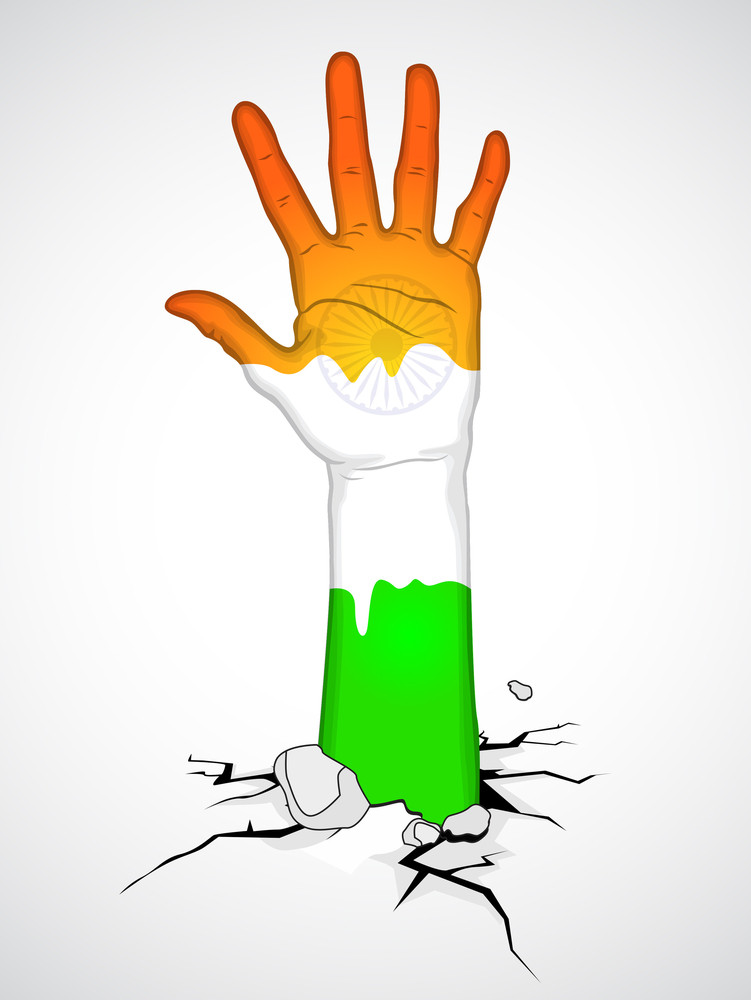 Human Hand In Indian Flag Color.