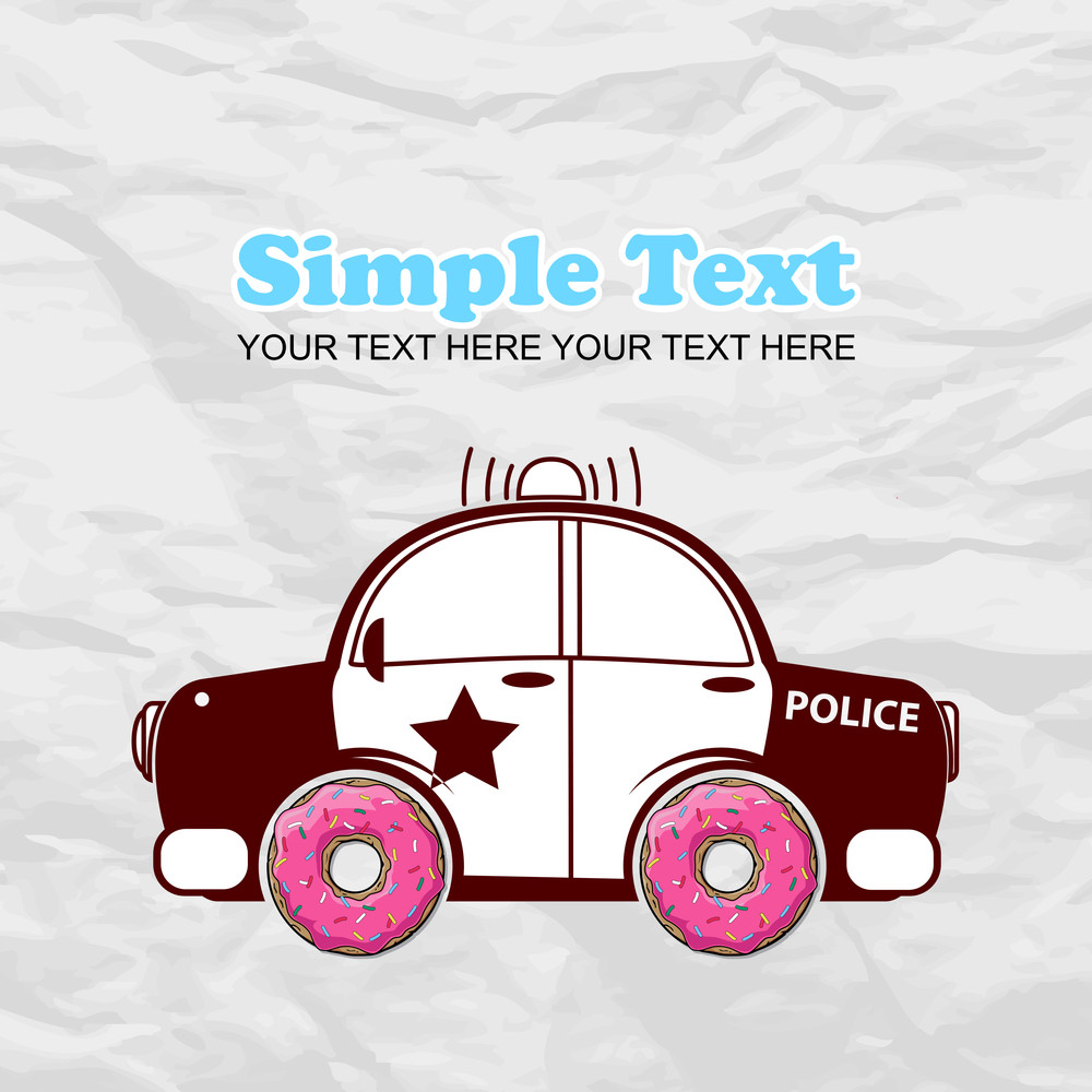 Humorous Vector Illustration With Police Car And Donut