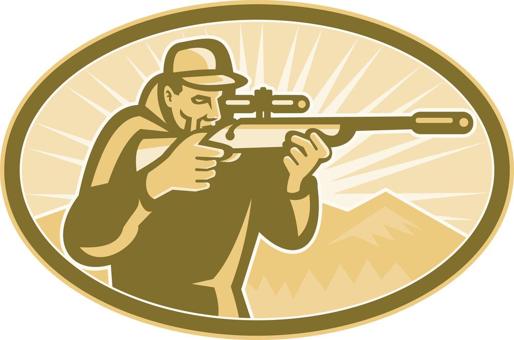 Hunter Aiming Rifle Oval Retro