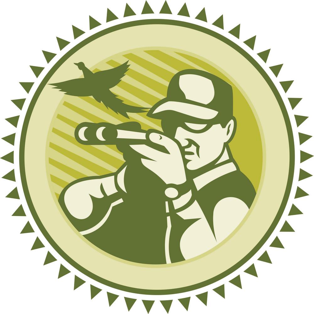 Hunter Aiming Shotgun Rifle With Pheasant Bird