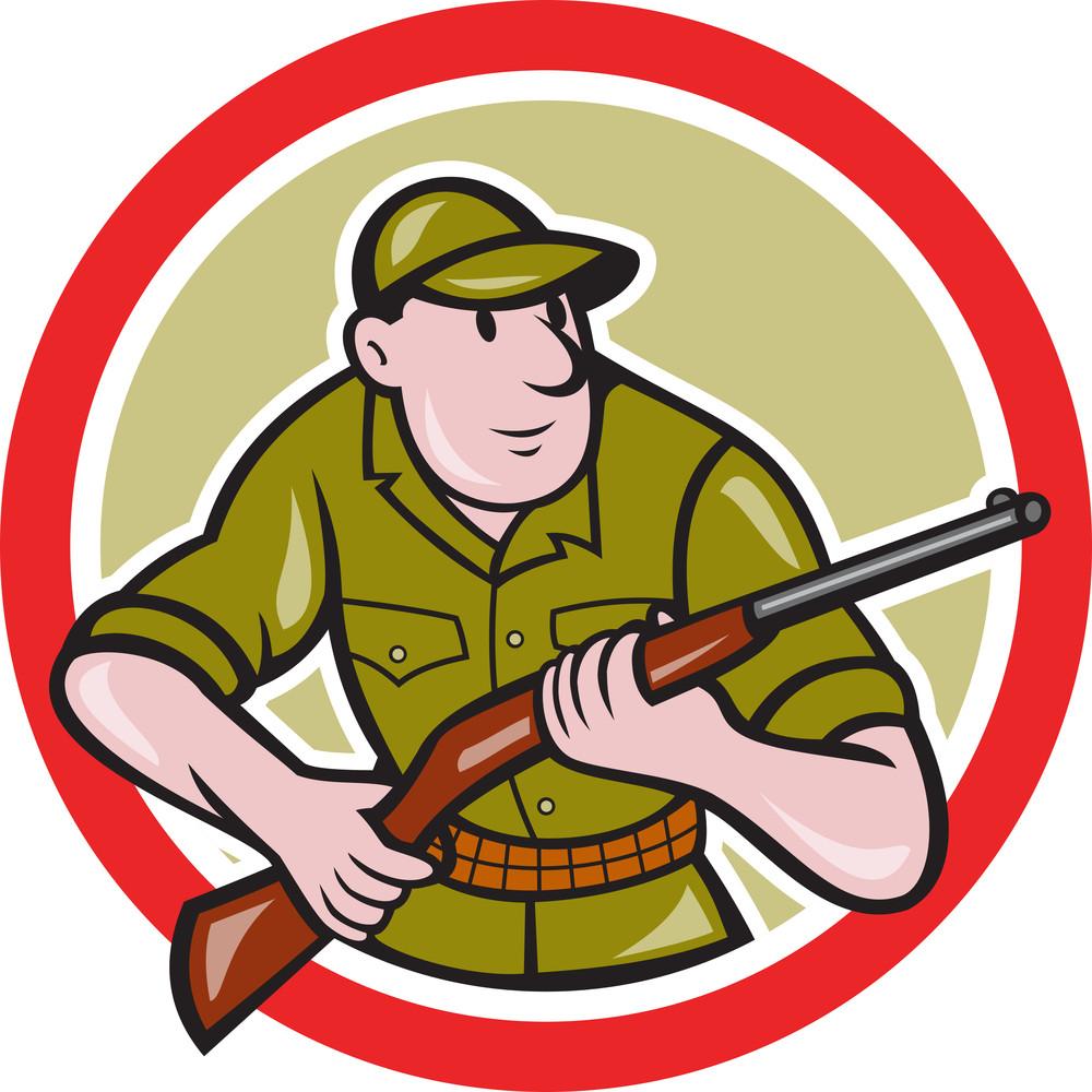 Hunter Carrying Rifle Circle Cartoon