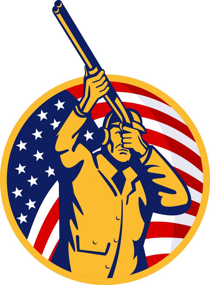 Hunter With Shotgun Rifle And American Flag