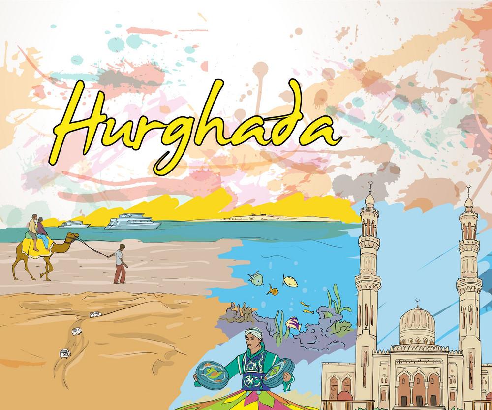 Hurghada Doodles Vector Illustration