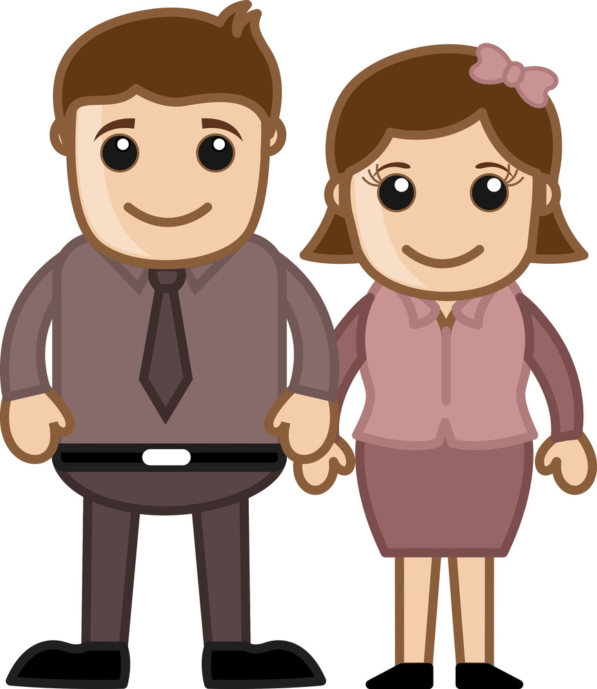 Husband Wife Standing Together - Vector Character Illustration