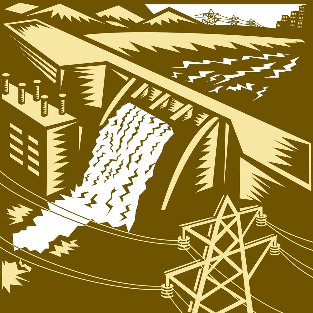 Hydroelectric Hydro Energy Dam Woodcut