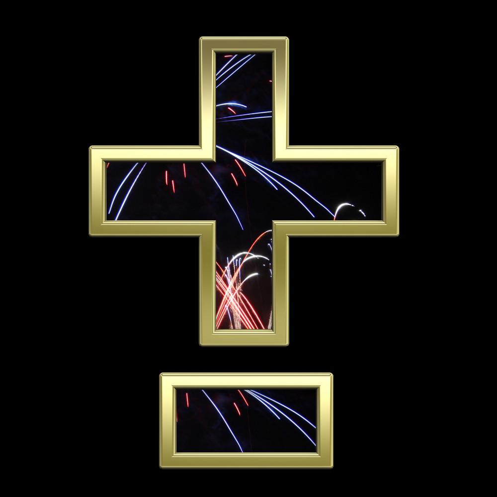 Hyphen, Minus, Plus Marks From Firework With Gold Alphabet Set