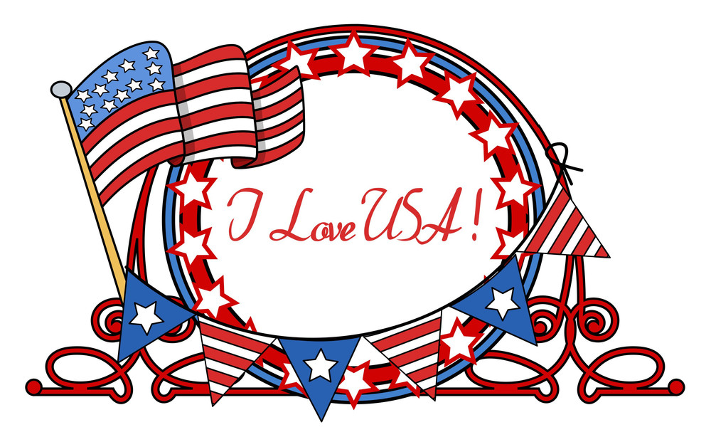 I Love Usa  4th Of July Banner