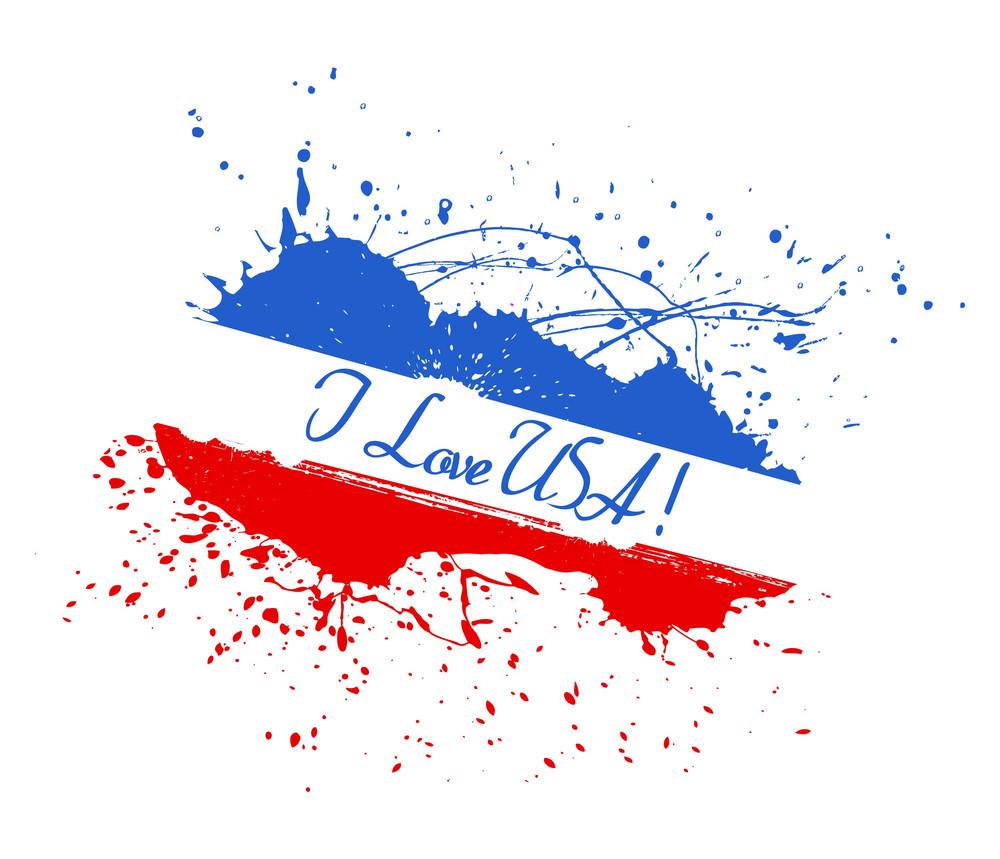 I Love Usa 4th Of July Vector Theme Design