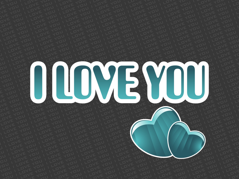 I Love You Background With Set Of Heart