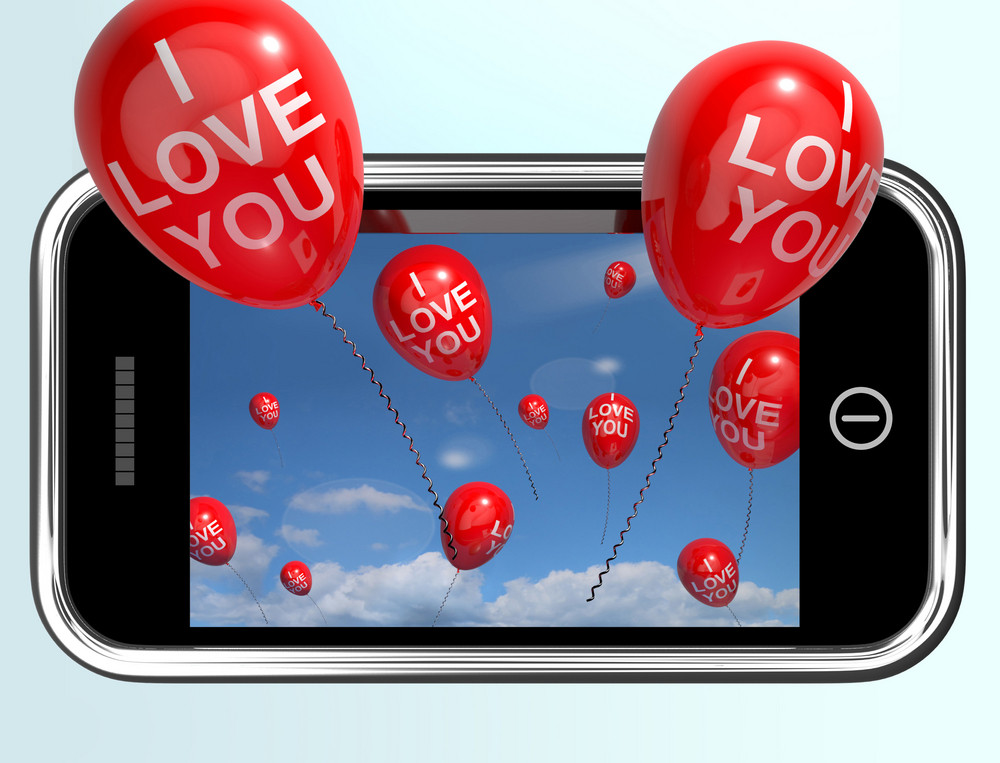 I Love You Balloons From A Mobile Smartphone