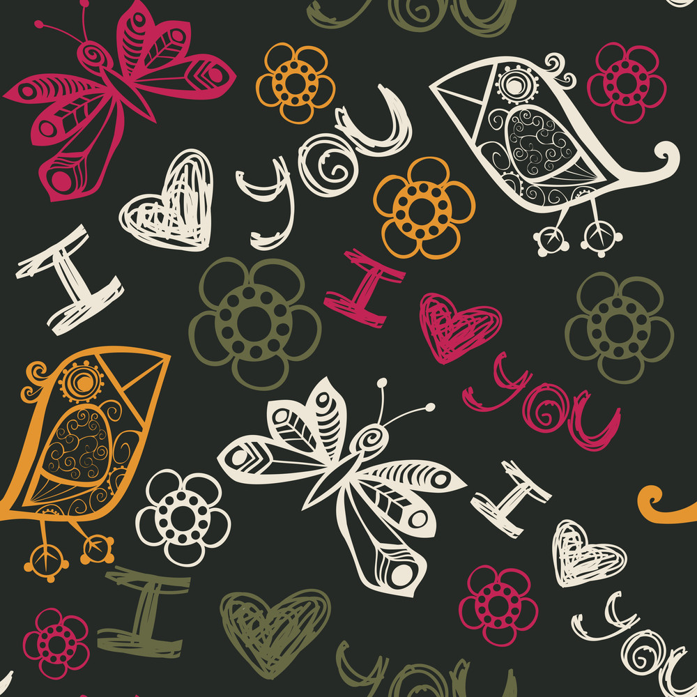 I Love You Seamless Pattern With Butterflies And Birds
