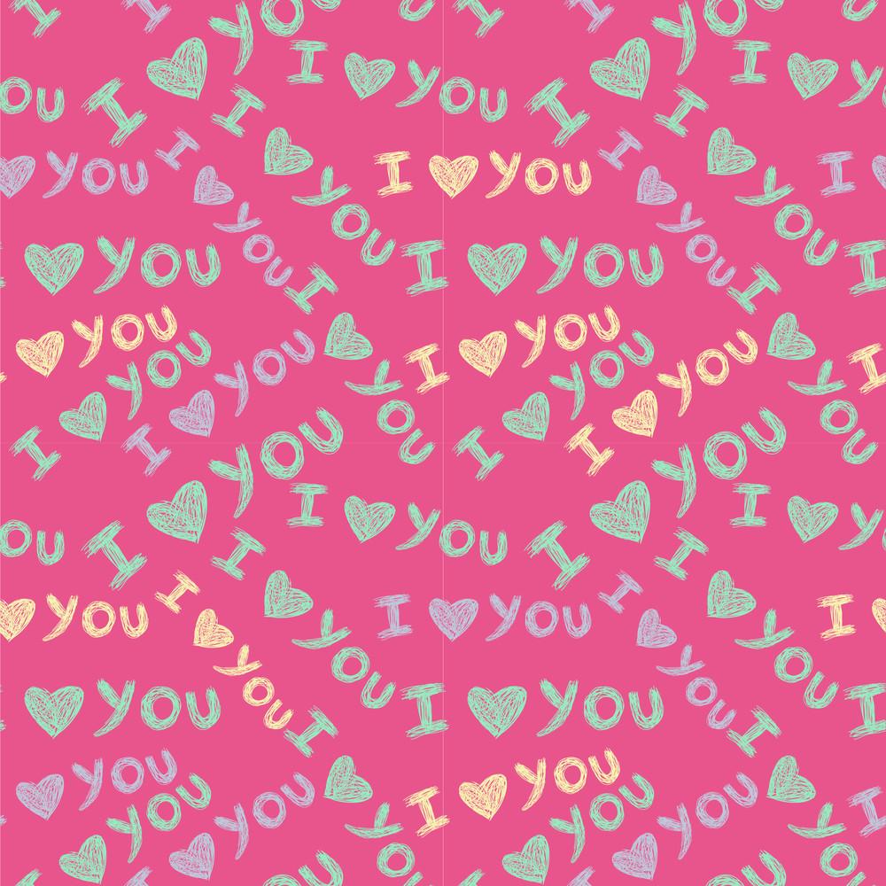 'i Love You' Seamless Pattern