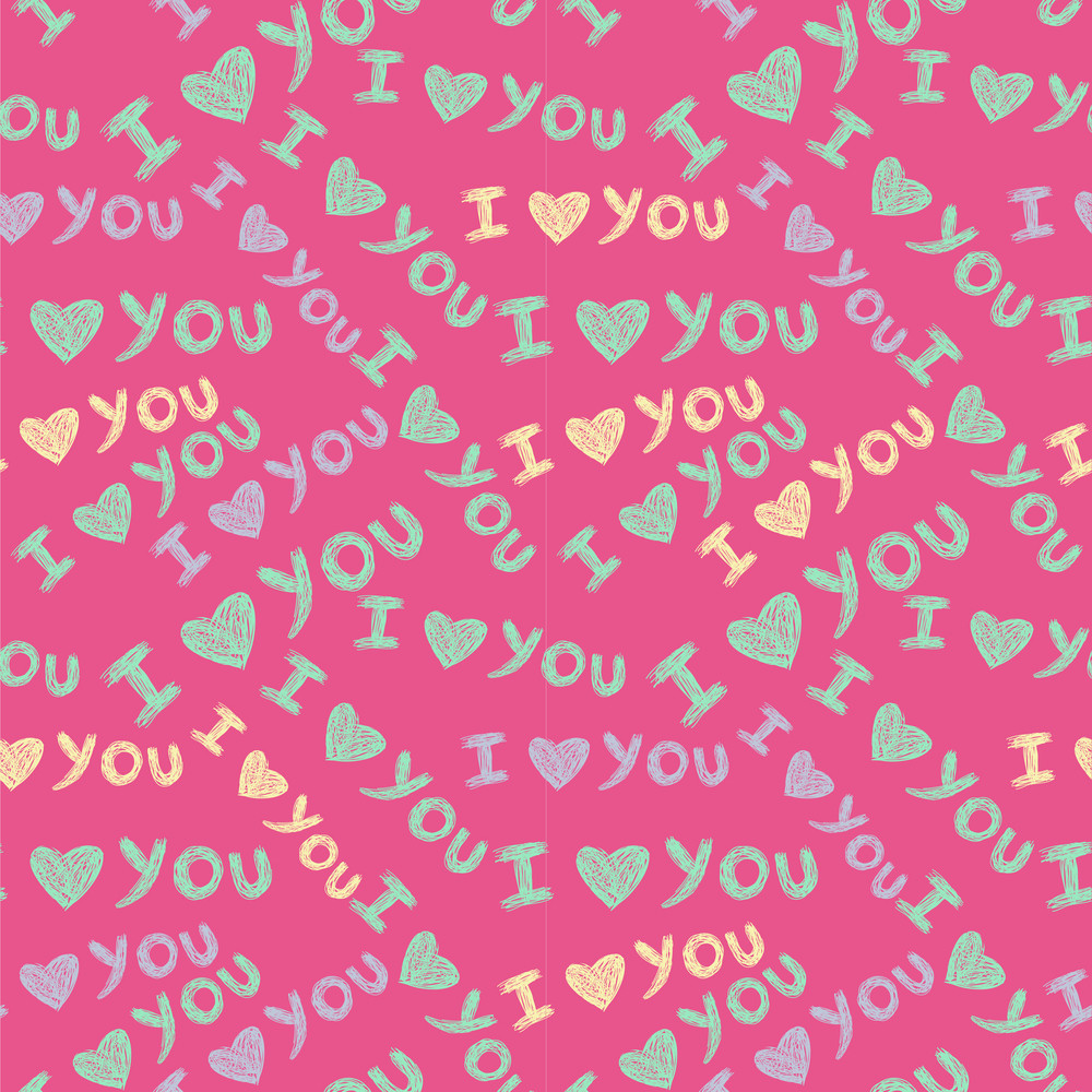 'i Love You' Seamless Pattern