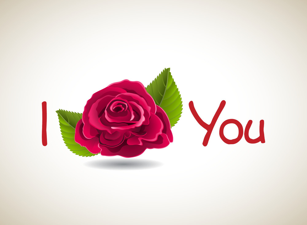 I Love You Text With Red Rose