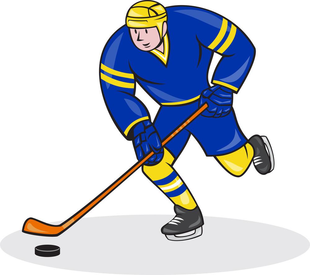 Ice Hockey Player Side With Stick Cartoon Royalty Free Stock Image Storyblocks