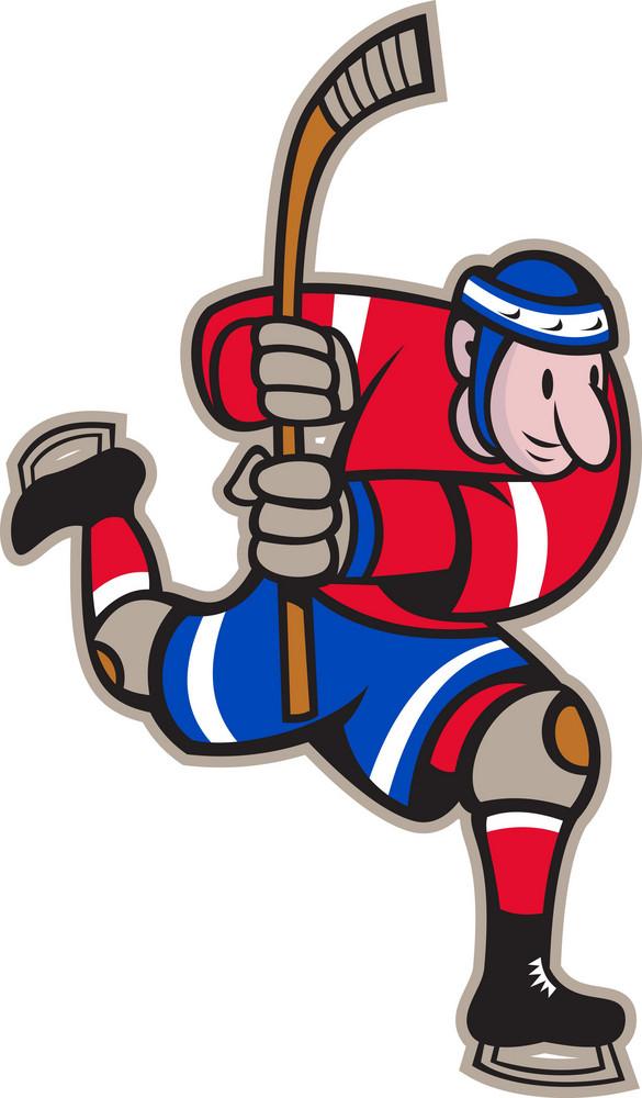 Ice Hockey Player Striking Stick